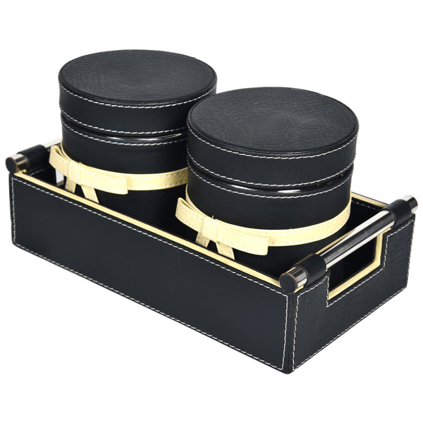 Jar & Tray set of Two- PU Leatherite Black Cream off white
