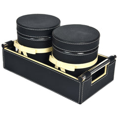 Jar & Tray set of Two- PU Leatherite Black Cream off white - Nestasia Home Decor