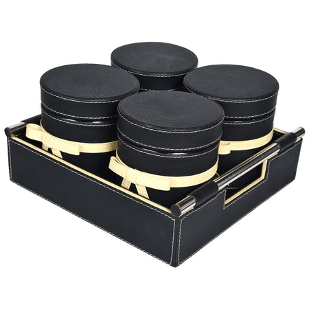 Jar & Tray set of 4 - Rectangle Tray With Handle - Black Cream Off White Combination - For Gifts Home Office - Four PU Leatherite Covered Glass Canister with Bow