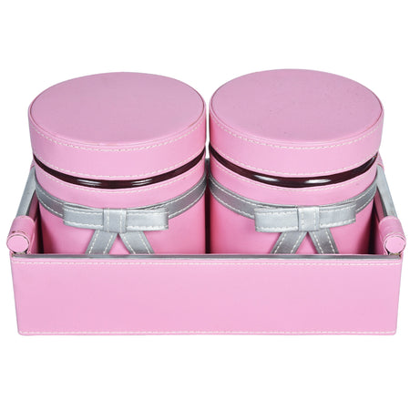 Nestasia Set of 2 Jars and Tray with handle - light baby pink and silver combo ribbon, bows - PU Leatherite - for gifts home Office - Two Glass cannister food safe green combination motif