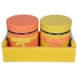 Nestasia Set of 2 Jars and Tray with handle - Yellow and peach combo ribbon, bows - PU Leatherite - for gifts home Office - Two Glass cannister food safe green combination motif