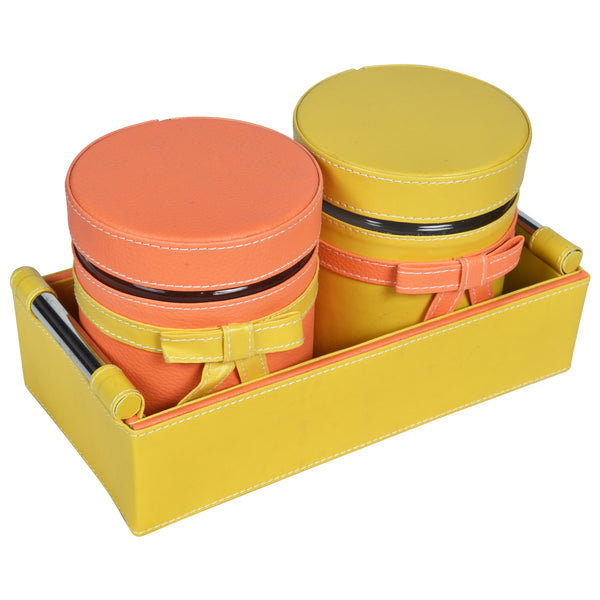 Set of 2 Jars and Tray with handle - Yellow and peach combo ribbon, bows - PU Leatherite - for gifts home Office - Two Glass cannister food safe green combination motif