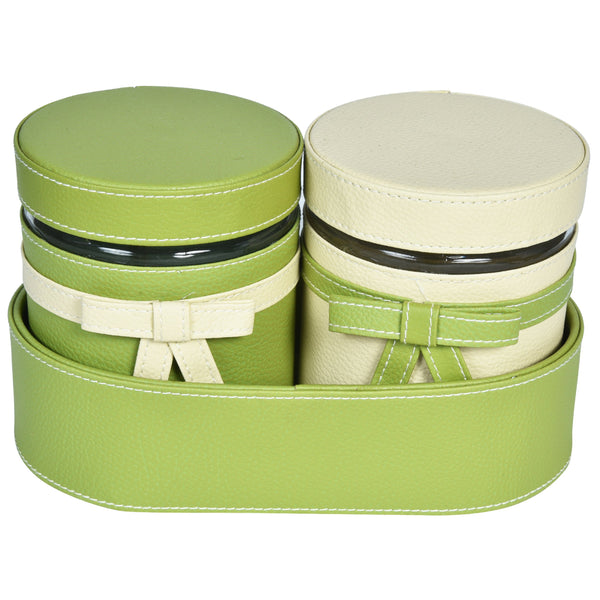 Nestasia Set of 2 Jars and Oval Tray - cream and green combo ribbon, bows - PU Leatherite - for gifts home Office - Two Glass cannister food safegreen combination motif