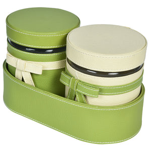 Nestasia Set of 2 Jars and Oval Tray - cream and green combo ribbon, bows - PU Leatherite - for gifts home Office - Two Glass canister food safe green combination motif