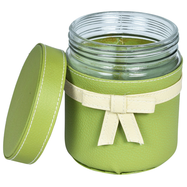 Set of 4 Jars and Tray with handle - Green cream off white ribbon bows - PU Leatherite - for gifts home Office - Four Glass cannister food safegreen combination motif