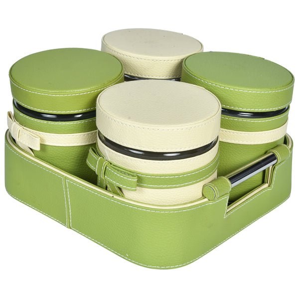 Nestasia Set of 4 Jars and Tray with handle - Green cream off white ribbon bows - PU Leatherite - for gifts home Office - Four Glass cannister food safegreen combination motif