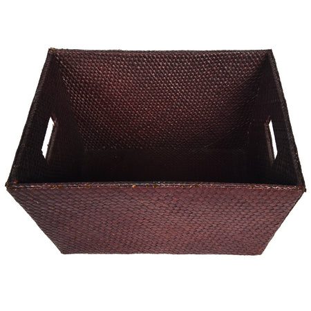 Brown woven PU Leatherite Basket Magazine Organizer for living room Gift Hampers Storage