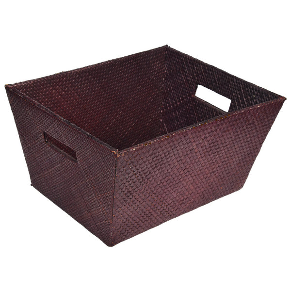 Nestasia Brown woven PU Leatherite Basket Magazine Organizer for living room Gift Hampers Storage