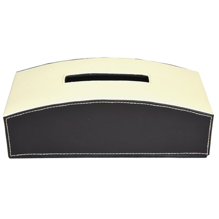 Nestasia Tissue Box in Cream Off white Dark Brown combination for gift home office car - PU Leatherite