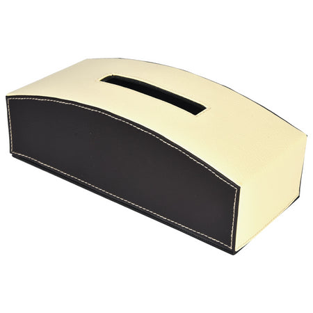 Tissue Box in Cream Off White Dark Brown Combination for Gift Home Office Car - PU Leatherite