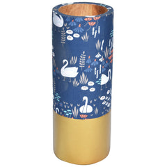 TROPICAL Wooden Floral Vase - Blue & Gold - Flower pattern - Nestasia Home Decor