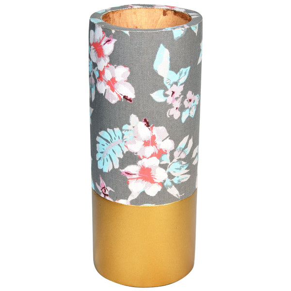 TROPICAL Floral Vase - Grey & Gold - Flower pattern - Nestasia Home Decor