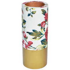 TROPICAL Floral Vase - White & Gold - Flower pattern - Nestasia Home Decor