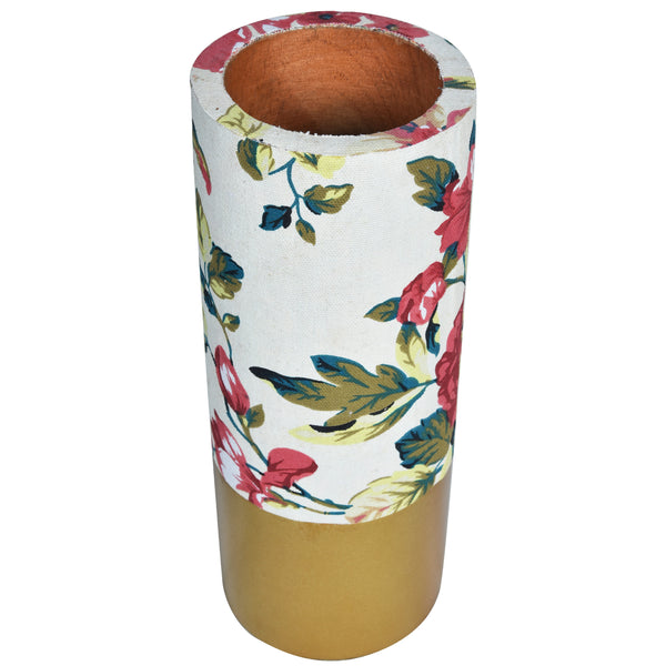 TROPICAL Floral Vase - White & Gold - Flower pattern