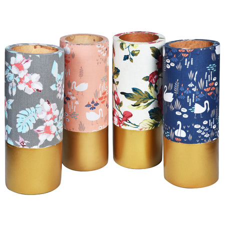 TROPICAL Wooden Floral Vase - Blue & Gold - Flower pattern