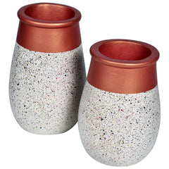 JARDIN Vase - Set of 2 - White & Rose Gold - Nestasia Home Decor