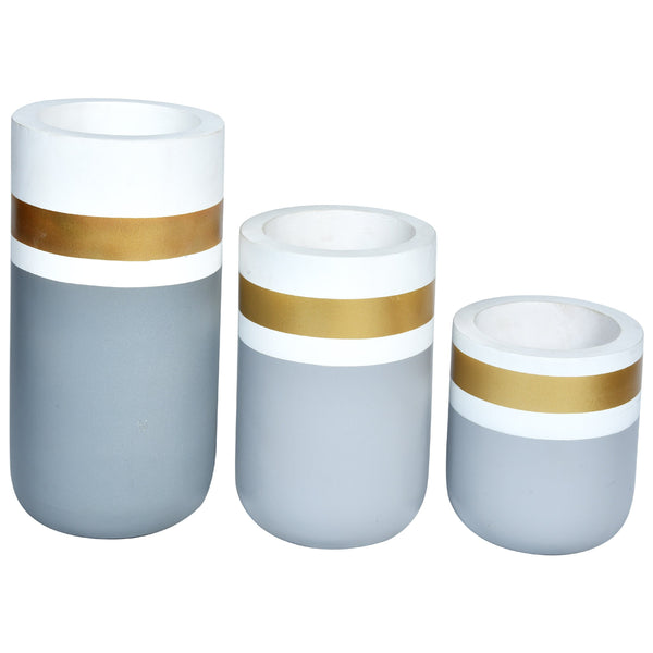 CHATEAU Vase set of 3-Grey, Gold & White