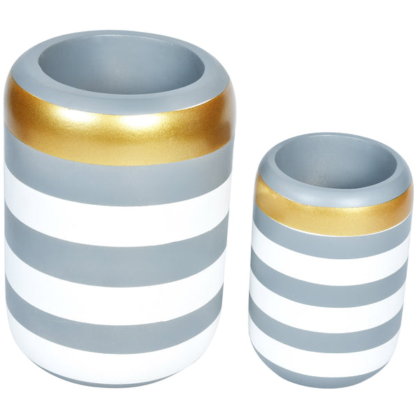 VICTORIA Stripe Wooden Vase- Set of 2- Grey