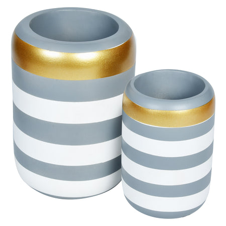 VICTORIA Stripe Wooden Vase- Set of 2- Grey White