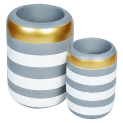 VICTORIA Stripe Wooden Vase- Set of 2- Grey White - Nestasia Home Decor