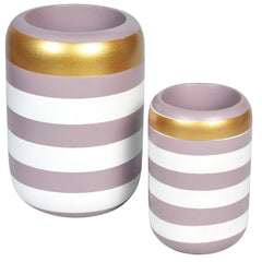 VICTORIA Stripe Wooden Vase - Set of 2 - Pink White - Nestasia Home Decor