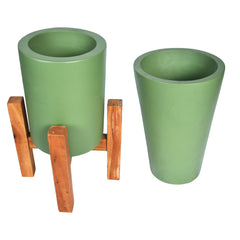 FLEUR Planter - Set of 2 - Olive Green - Large - Nestasia Home Decor