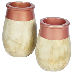 JARDIN Vase - Set of 2 - Marble Rose Gold - Nestasia Home Decor