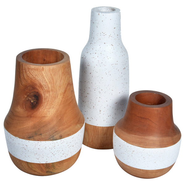 STARRY Wooden Vase - Set of 3 - White & Natural Wood - Nestasia Home Decor