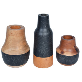 STARRY Wooden Vase - Set of 3 - Black & Natural Wood