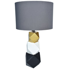 JOLIE Geometric Wooden Lamp with Grey Lampshade - Nestasia Home Decor