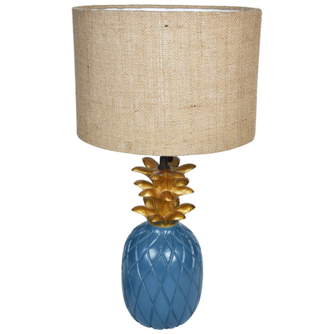 TROPICAL Pineapple Lamp - Blue & Gold - Jute Shade