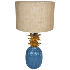 TROPICAL Pineapple Lamp - Blue & Gold - Jute Shade - Nestasia Home Decor