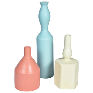 MODERN Vase set of 3 - White, Peach & Blue - Nestasia Home Decor