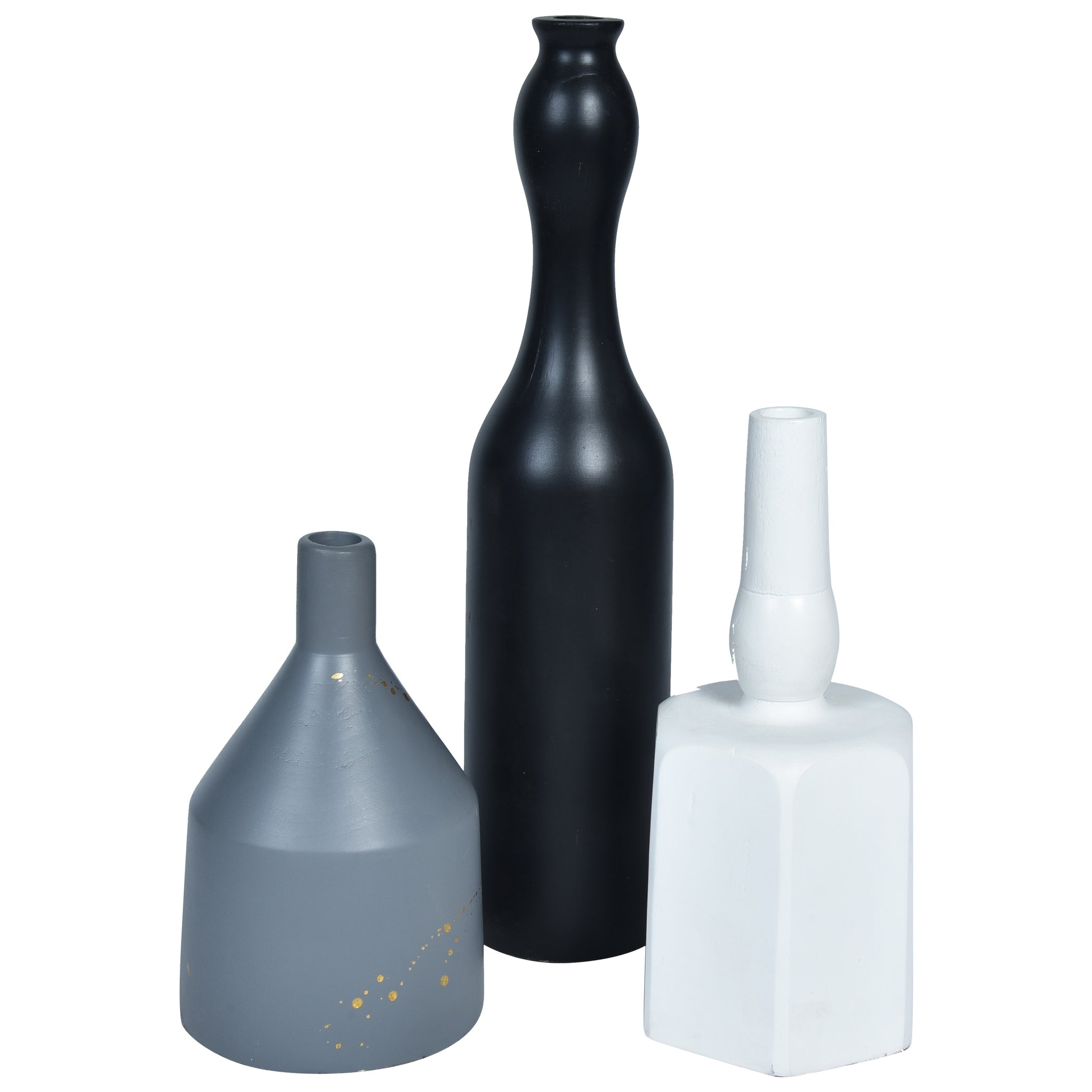 MODERN Vase set of 3 - White, Black & Grey