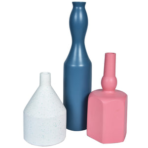 MODERN Vase set of 3 - White, Pink & Blue