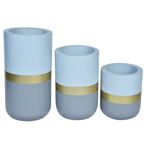 CHATEAU Vase set of 3 - Blue & Gold