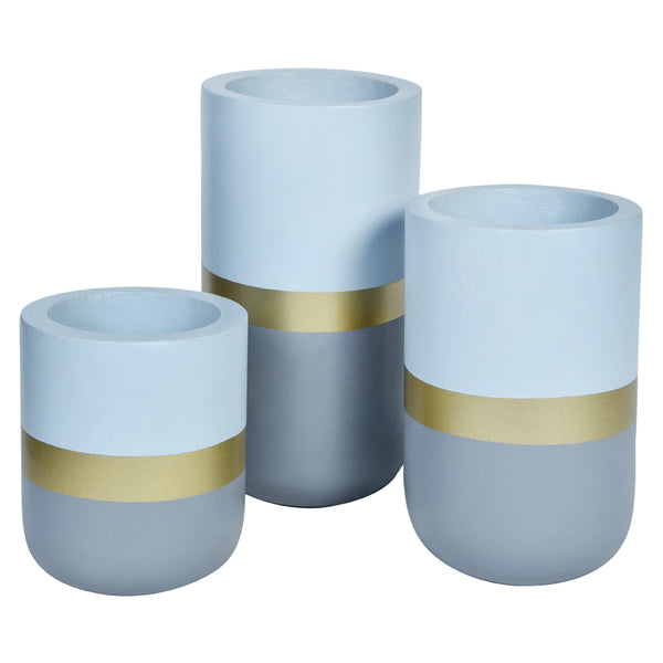 CHATEAU Vase set of 3 - Blue & Gold - Nestasia Home Decor