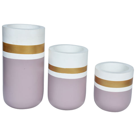 CHATEAU Vase set of 3 - Gold, White & Old Rose Pink