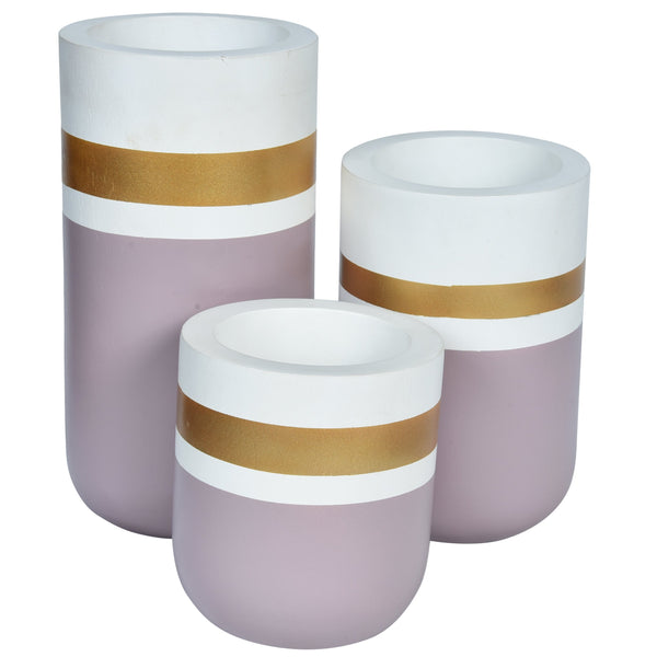 CHATEAU Vase set of 3-Gold, White & Dust Pink