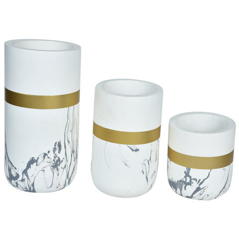 CHATEAU Vase set of 3 - Marble, Gold & White