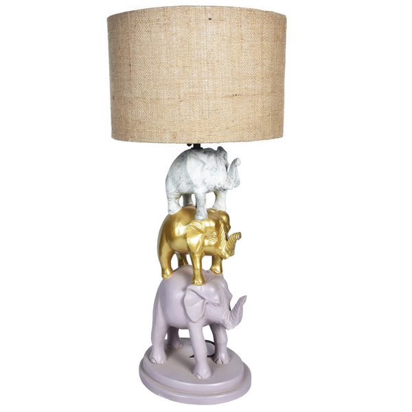 GAJAH 3 Tier Elephant Lamp - Pink, Gold & White - Jute / Grey Shade - Nestasia Home Decor