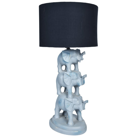 GAJAH 3 Tier Elephant Lamp- Grey-Black Shade