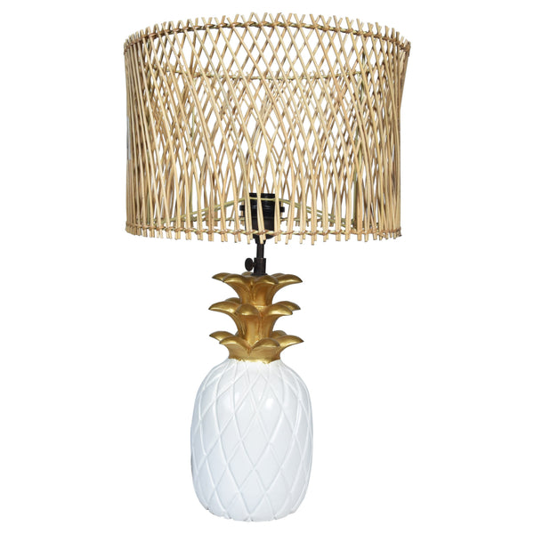 TROPICAL Pineapple Lamp - White & Gold - Jute / Rattan Shade - Nestasia Home Decor