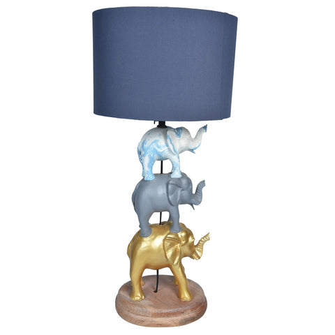 GAJAH 3 Tier Elephant Lamp- Gold, Grey & White-Grey Shade