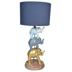 GAJAH 3 Tier Elephant Lamp - Gold, Grey & White - Grey Shade - Nestasia Home Decor