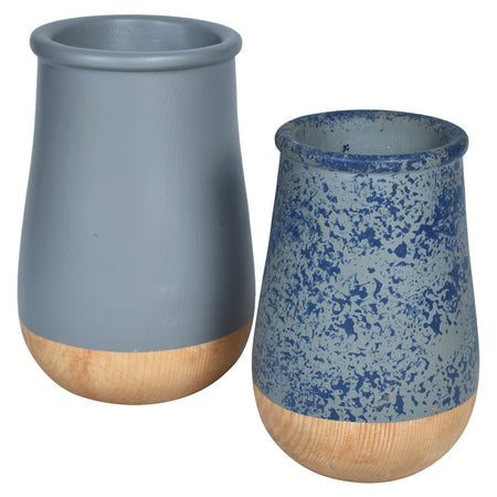 JARDIN Vase - Set of 2 - Grey Blue & Wood