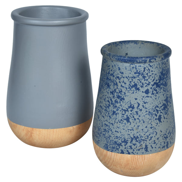 JARDIN Vase - Set of 2 - Grey Blue & Wood - Nestasia Home Decor