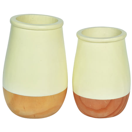 JARDIN Vase - Set of 2 - Yellow & Wood