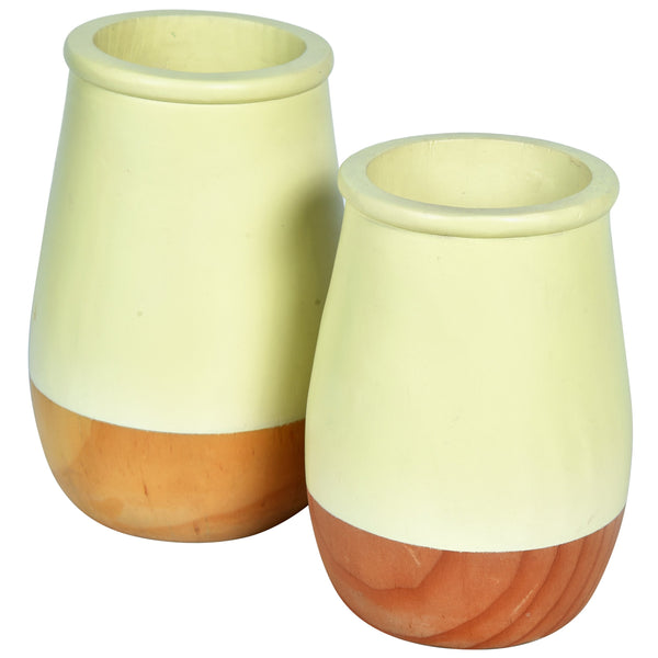 JARDIN Vase - Set of 2 - Yellow & Wood - Nestasia Home Decor