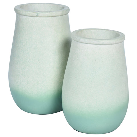 JARDIN Vase-Set of 2-Green & White Ombre